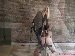 Uber-sexy blonde ball bust and horse