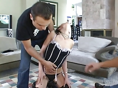 Dominatrix prodding her marionette to penetrate 2 boners