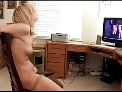 Roped Up To The Stool with  Massager