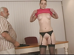Adorable mega-slut with dark hair and nice knockers in garter belt gets  firm