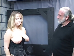 Old man dom pulls plump sub's hair and smacks her big knockers