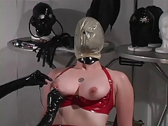 Crimson spandex slave likes breath play