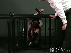 BDSM  Encaged gimp learns the  way with ass fucking