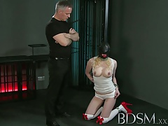 BDSM Hard-core Sexy blondie gets masked and hung