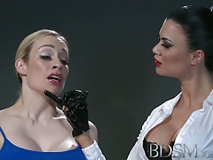 BDSM  Kinky marionette with yam-sized mounds lets Domme into her