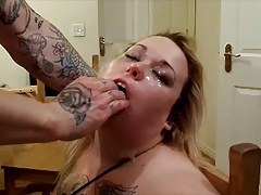 BBW Messy  meat cruel dildo face pounded super-bitch