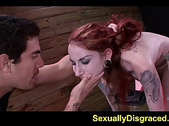 Giant dildo and big cock tucking corded sub Sheena Rose