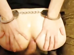Manacled blindfold butt-fucked