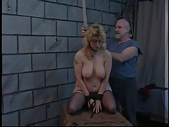Blonde fuckslut is released from schlong to have her vag corded with ropes