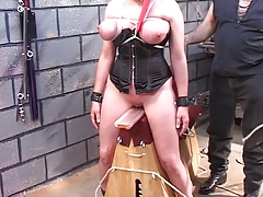 Stud forceps totally hodded and corseted sadism & masochism brunette's beaver