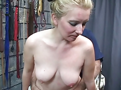 Ash-blonde doll gets her cunt  with bullshit and porks doggie