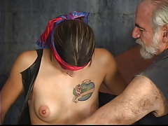 Super-cute domination & submission girl with tat and clean-shaven beaver gets tormented by Sir Len