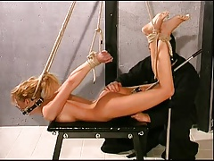 Slender Light-haired In A Modified Hogtie