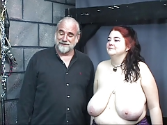 Thick fat orb insatiable slave dame is lashed and used