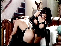 Spandex dark-haired humps him with her