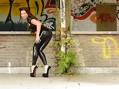 Julie Skyhigh  in spandex Catsuit and platform high-heeled shoes