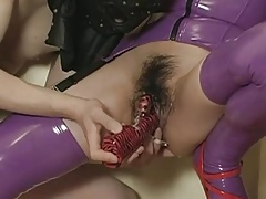 Japanese wearing latex mask gets taken to heaven DMvideos