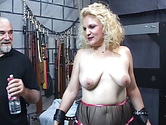 Mature ash-blonde gimp gets slapped till her booty turns crimson