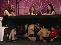 lady worship  under the table