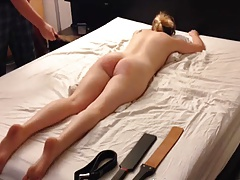 blonde  smacking session, belt cane spanking paddle