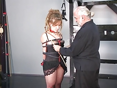 Dreadlock hippie domination & submission gal loves to be restrained in  by older tormentor