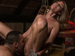 cruel dude plumbs his towheaded tied up wifey
