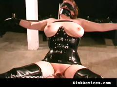 slave in sexy rubber latex suit