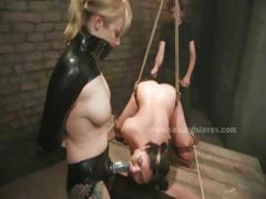 Incredible buxom tramp draped in the air brutalized and torn up in slavery  lovemaking