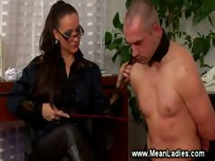 Domina smoking while smacking submissive