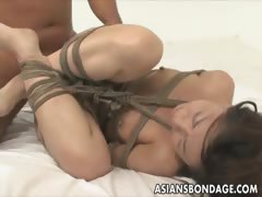 Chinese babe corded and deeply pummeled Restrain bondage