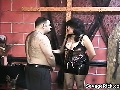 Giant and furry stud gets trussed and bootie part1