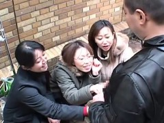 Chinese damsels taunt boy in public via hand job Subtitled