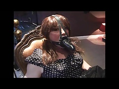 Angelica corded and manhood ball-gagged