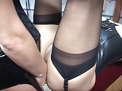 Corseted gartered c-cup sadism & masochism redhead  her gams for brunette's strap-on