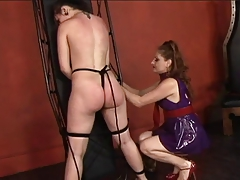 Torrid  lezzie restrains her  gal and whips and smacks her donk