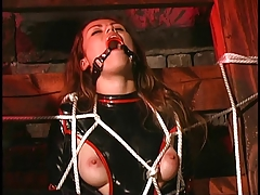 Dark-haired bombshell tied for some BDSM act