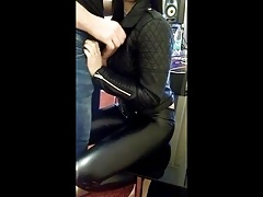 jizz flow on luxurious gal in leather outfit