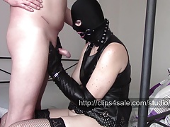 Handcuffs, 2 pairs of leather opera gloves and hand job
