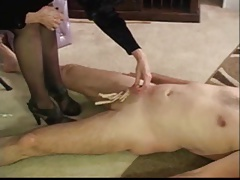 cock beetween pantyhosed  while slapped