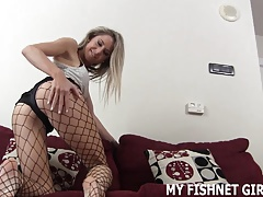 My 18yo arse looks astounding in fishnet tights JOI
