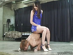 Asian  Risa slapped the face of trio slaves