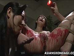 Pouring wax on her humid vulva and she luvs the sadism & masochism stuff