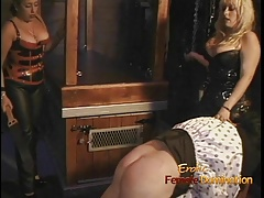 2 plump dominas give a horny man a  smacking