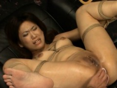 Cute oriental  gets fucktoys to ass fucking gang-bang her crevasses