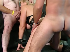 Gimp mega-slut with piercings gets three-way