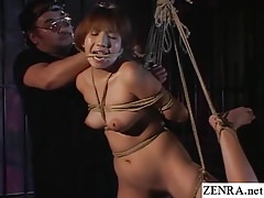 Traditional JAV shibari cord trussing with