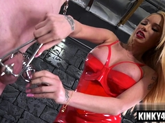 Super-hot superstar restrain bondage and cumshot