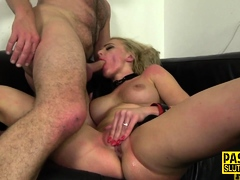 Restrained milf pounded and sucked