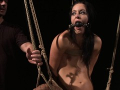 Restrained eurobabe swallowing piss