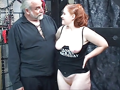 Redhead slut Kirsten deepthroats her master's man sausage then gets drilled and spanked